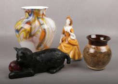 A mixed group to include Royal Doulton figure of lady, Bretby cat, art glass vase and a studio