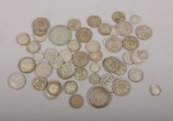 A collection of pre 1947 silver coins, shillings, sixpence, three pence examples