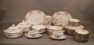 A collection of Queen's Bone China dinner and teawares, charger plates, tureen's, soup bowls,