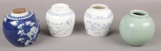 Four Chinese ceramic jars to include blue & white & celadon examples etc.
