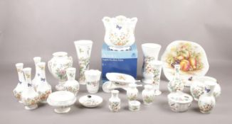 An assortment of Aynsley, plate, vases and jardinière, included Wild Tutor, Orchard Gold, Pembroke
