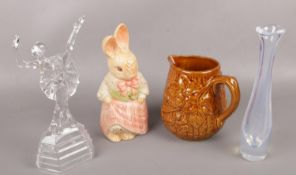 Four pieces of ceramics and glass to include glass figure of a Ballerina, Orrefors glass art vase