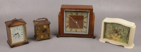 Four Smith's clocks to include Little red riding hood, carriage clock examples etc.