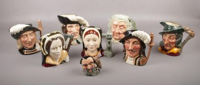A Collection of Royal Doulton character jugs, included Catherine of Aragon D.6643, Athos D6439,