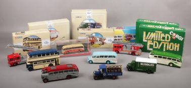 A collection of Corgi boxed die cast vehicles, Daimler Utility 97827, The Ruddles Truck 97752, AEC
