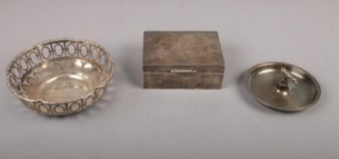 A small collection of silver and silver plated items, to include a silver cigarette box assayed in