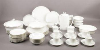 A Wedgwood 'formal Platinum' dinner service, Coffee pot, 6 coffee cups/saucers, milk jug, sugar