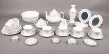 A large collection of Wedgwood 'Angela', tea set with teapot, cups/saucers, tea plates, milk jug