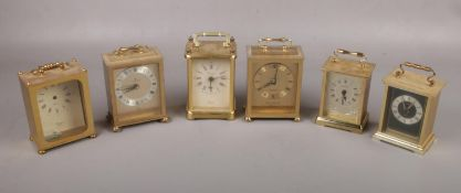 Six various makes of brass carriage clocks with quartz movements, included Junghans, Metamec and