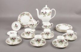 Wedgwood 'Hathaway Rose' coffee set, coffee pot, coffee cups/saucers, milk jug, tea plates etc