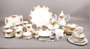 """A quantity of fine bone china, mostly Royal Albert """"Old Country Rose"""", comprising of, teapot, coffee"""