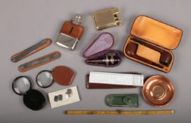 A group of collectables, to include silver plate and leather hip flask, cased pair of pipes, 12 inch