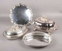 Two silver plate tureens, one by Elkington & Co, the other possibly by Hawksworth Eyre & Co, along