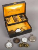A box of mostly pocket watch spares and repairs to include silver pocket watch cases, large quantity