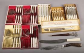 A collection of mainly boxed cutlery, to include Joseph Rodgers & Sons carving knife, TWW scissors