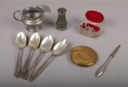 An assortment of metal ware comprising of, Set of 4 Odeon Theatres Elkington Monarchy Silver Plate