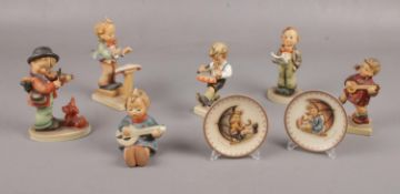 Six Goebel ceramic figures, Joyful Hum 53, Happiness Hum 86, Little Drummer Hum 240 to include Plate