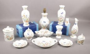 """A collection of Aynsley """"Cottage Garden"""" bone china all in original boxes apart from the lamp, to"""