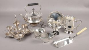 A collection of silver plate, to include spirit kettle, Campbell & Lumby egg cup set, sauceboats