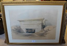 After David Roberts RA, (Louis Haghe Lith) a coloured lithograph, Dendera Dec 1838 (Egypt), within a