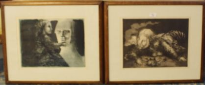 20th Century Spanish, manner of Pablo Picasso (1881-1973) - Two limited edition etchings -