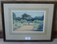 H Terry, watercolour 'The Japanese Fountain' Batsford Gardens, Moreton in the Marsh, within a
