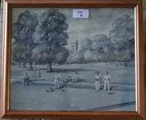 A monochrome watercolour, entitled 'On the Bowling Green' to frame verso, indistinctly signed