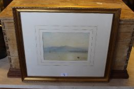 Attributed to George Arthur Fripp RWS (1813-1896) watercolour, coastal/lake scene, within a washline