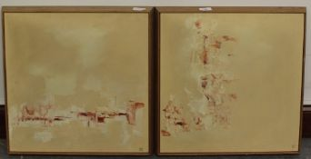 A pair of American Art Association abstract expressionist oil on boards, signed with enclosed 'C'