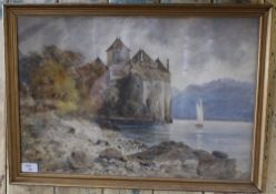 A 19th century watercolour, Chateau de Chillon/Lake Geneva, autumnal setting, unsigned, within a