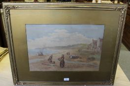 Edward C Booth (1821-1893) Watercolour - 'Sandsend' signed and dated 1891 within a gilt card mount