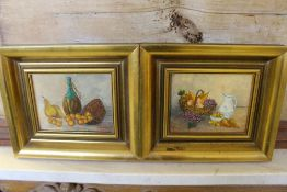 Mariel Orengo - two small oil on canvas (laid on board), still life studies, signed, within gilt