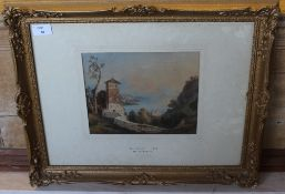 Attributed to William Crouch (1800-1850) watercolour 'Bay of Naples' entitled, attribution and