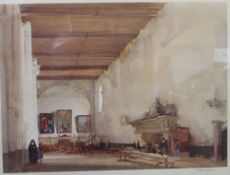 After Sir William Russell Flint (1880-1969), signed colour print, Church Interior, 41cm x 55cm,