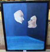 Alessandier M.K Henry - Modern School - Oil on board 'Love Is in The Air' - Theatrical masks, 55cm x