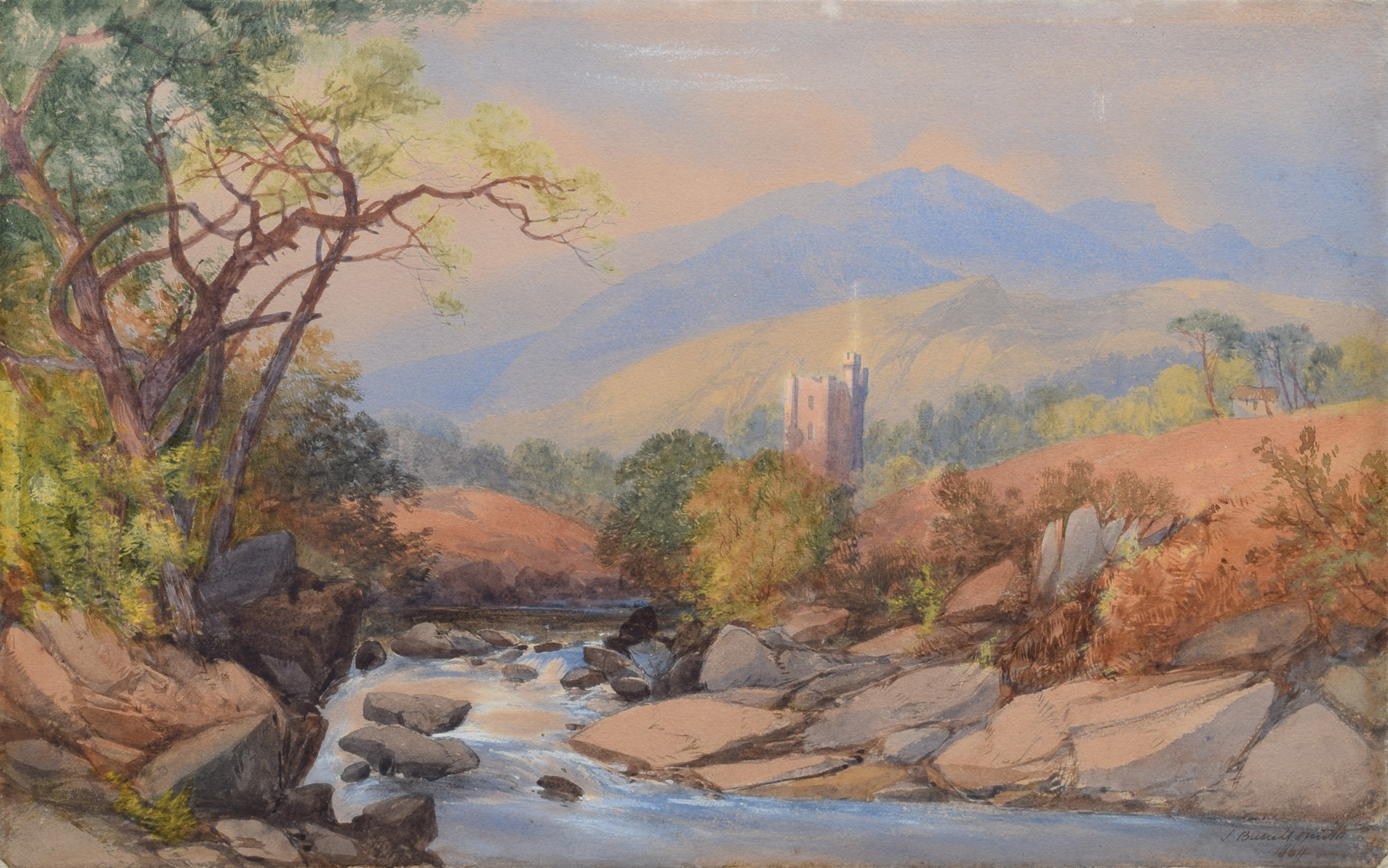"""Lot 19 - James Burrell Smith (1822-1897), """"A View in Cumberland"""", signed and dated 1864, titled on mount,"""