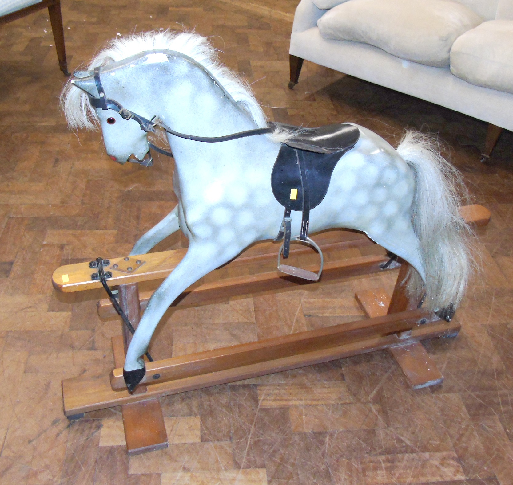 Lot 103 - Wooden grey rocking horse. We are unable to do condition reports on our Interiors Sale