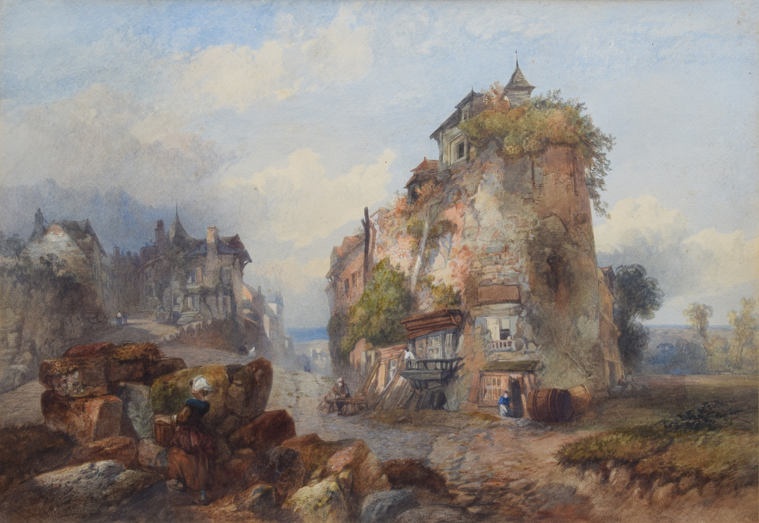 Lot 21 - Yartland, 19th century, Continental village scene with figures, signed and dated 1887,