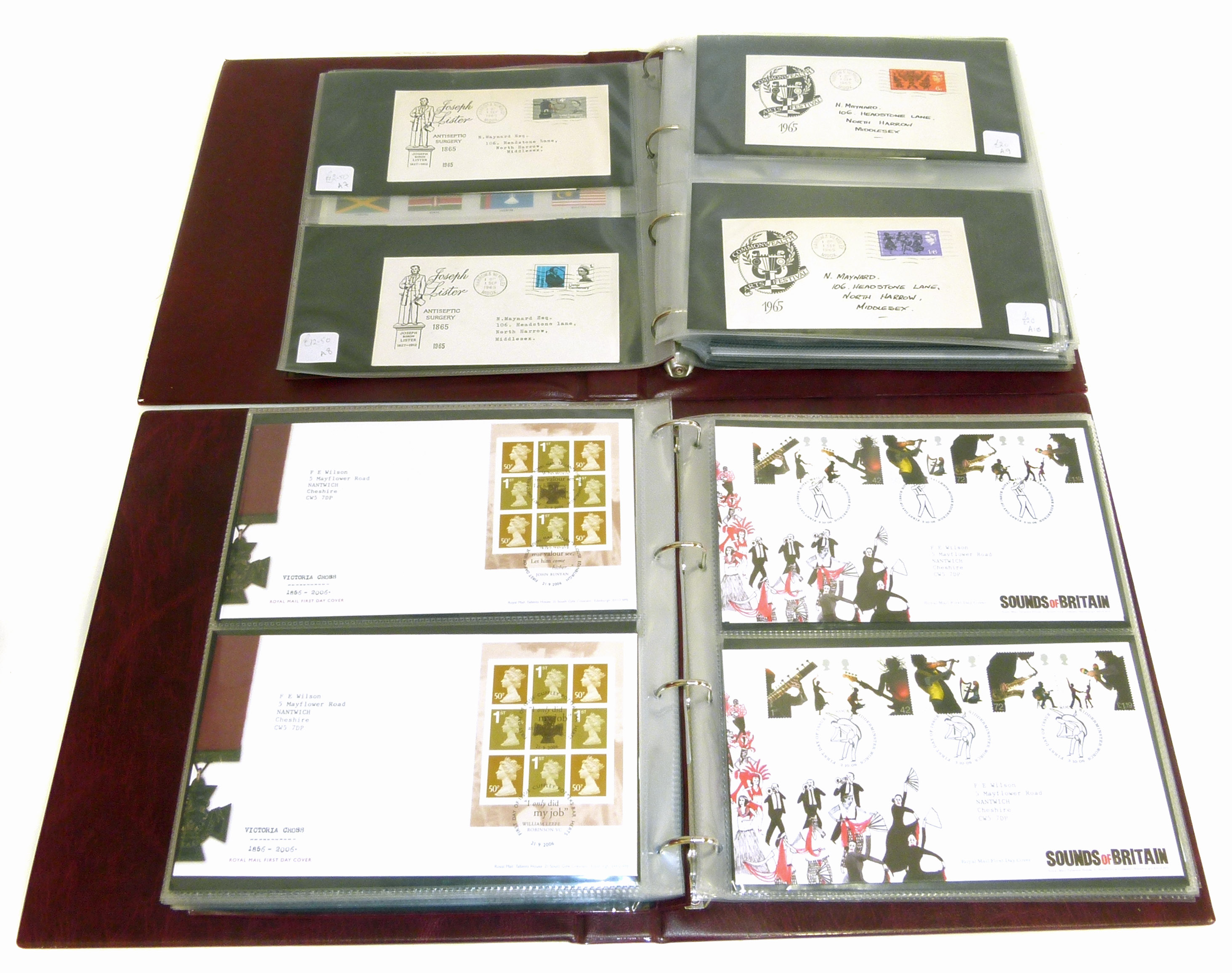 Lot 37 - Two albums of mainly GB First Day covers, period 1965-2008, plus a few mint decimal sheets and