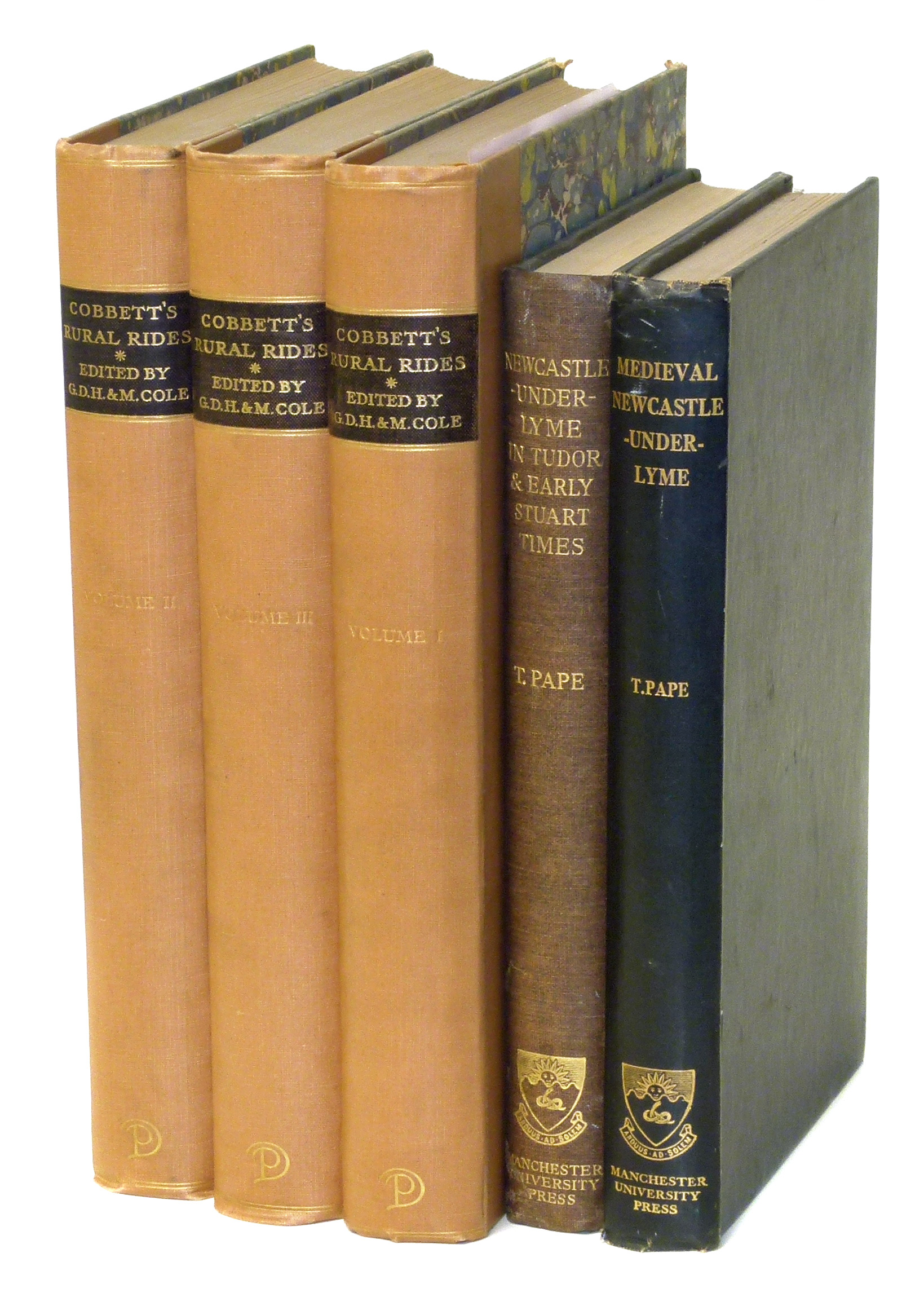 Lot 25 - Cobbett, W., Cobbett's Rural Rides (ed Cole), three volumes, 1930 marbled boards and Pape, T. We are