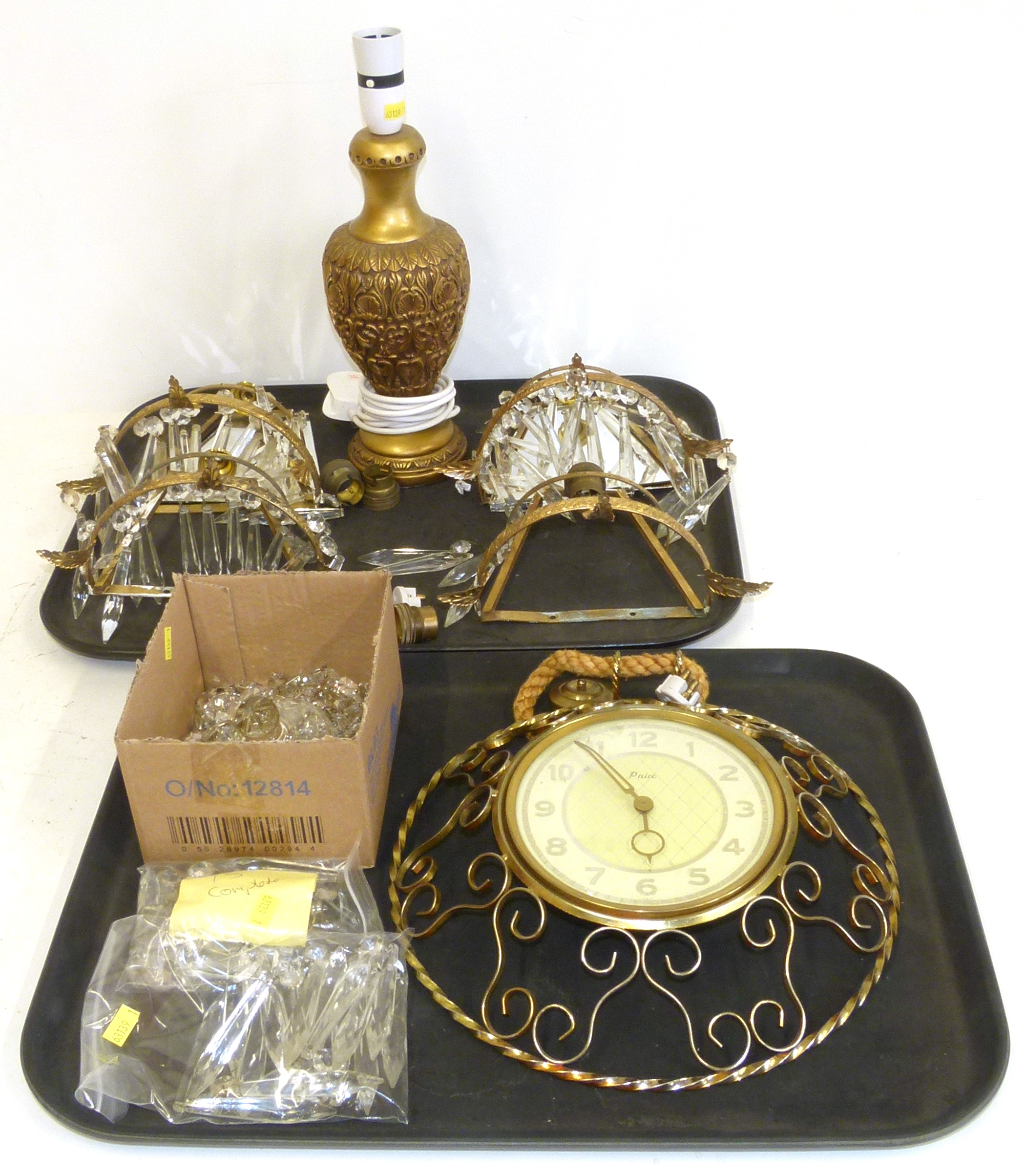Lot 67 - Paico wall clock, three chandelier stall wall light, table lamp We are unable to do condition