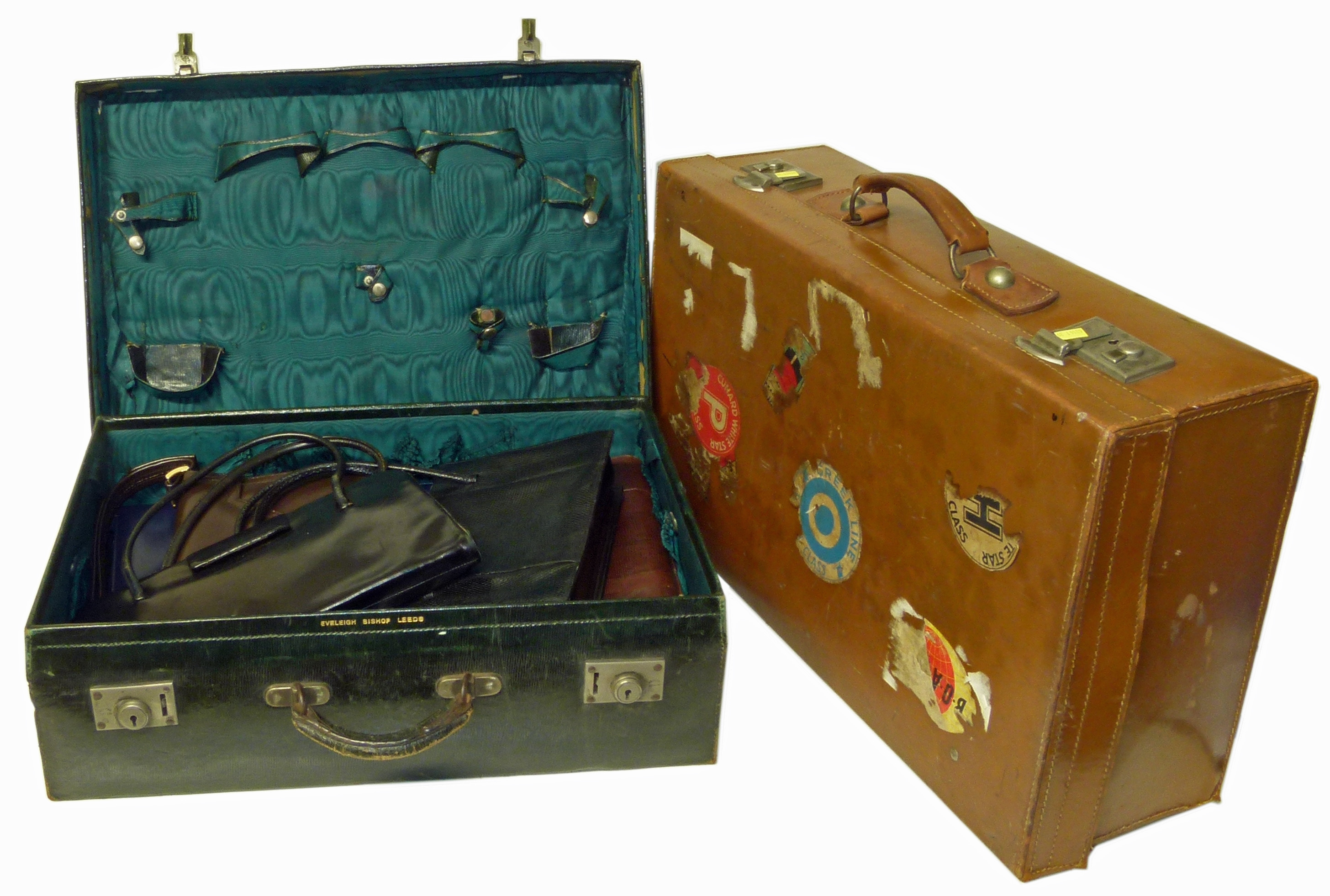 Lot 61 - Selection of ladies handbags and two suitcases We are unable to do condition reports on our