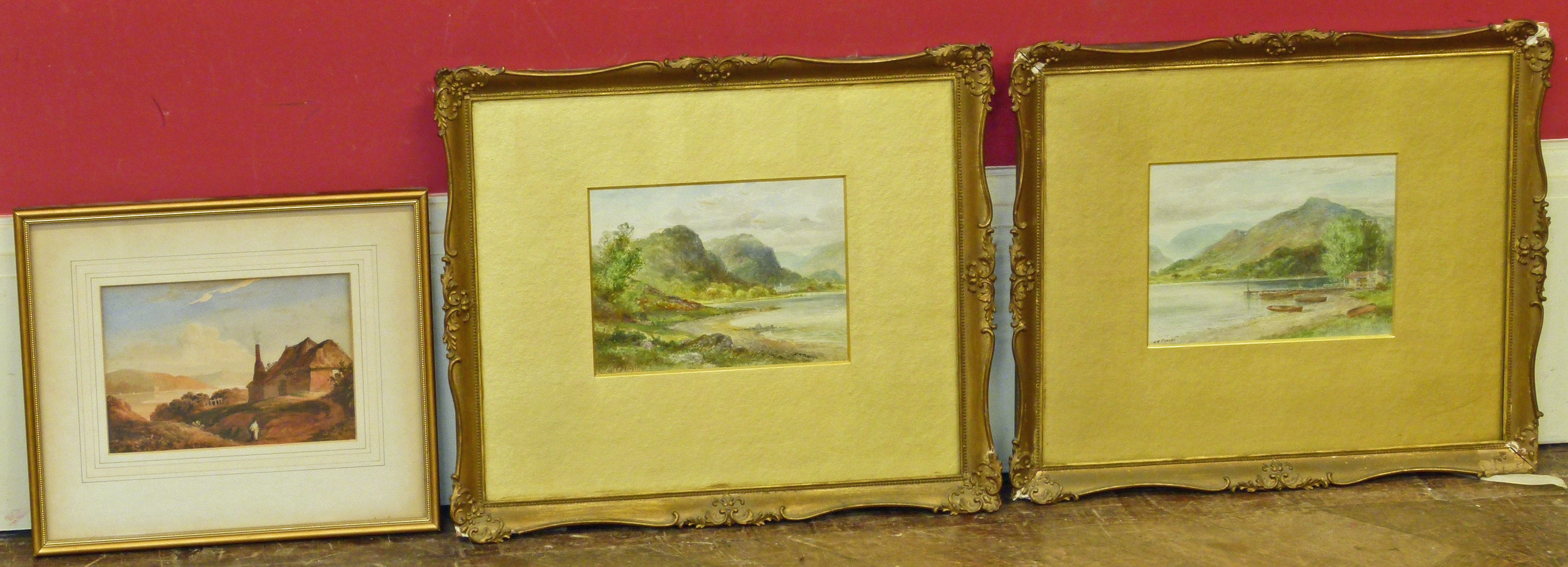 Lot 5 - Two watercolours by H.M Krause and one other watercolour We are unable to do condition reports on