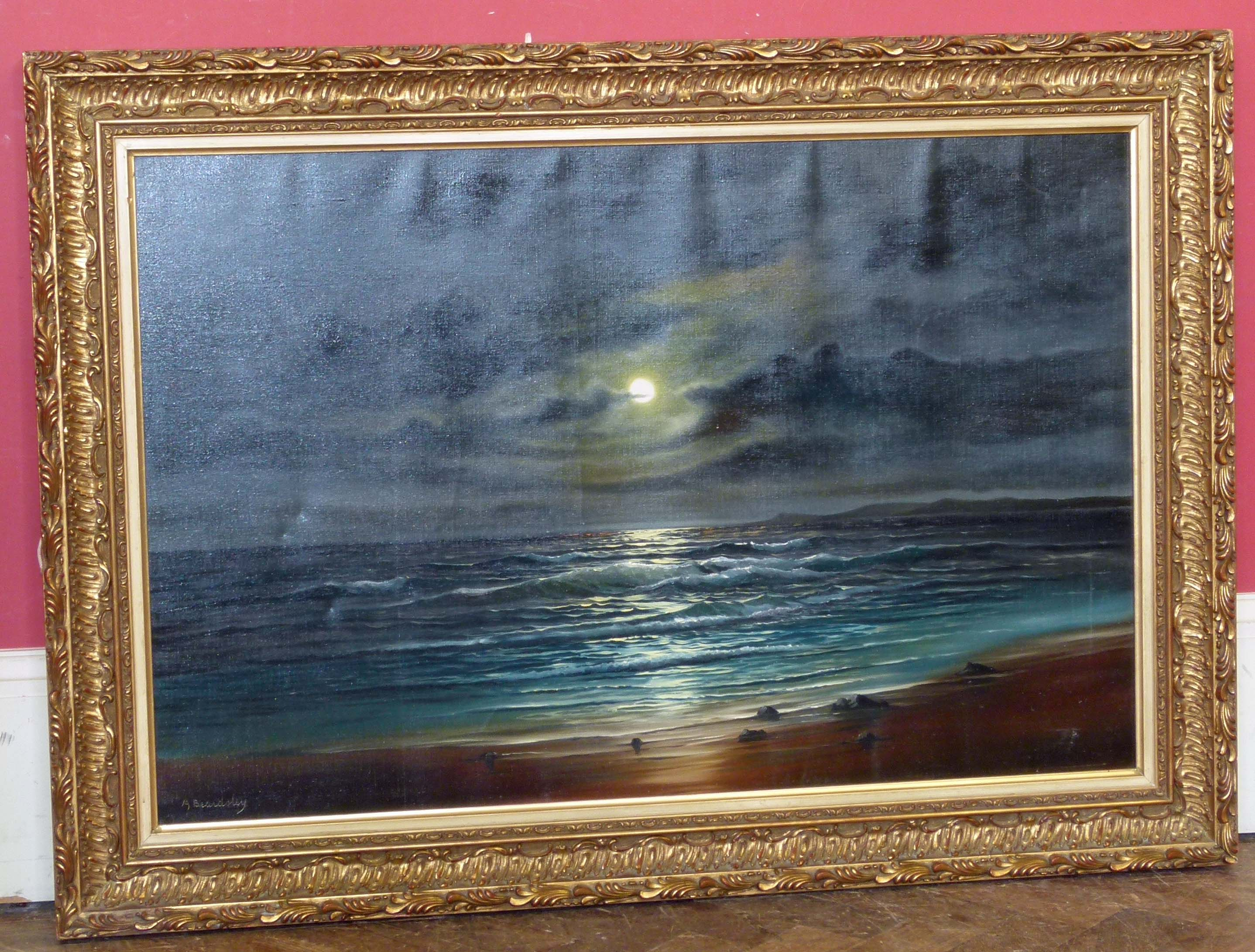 Lot 3 - A. Beardsley, Moonlit coastal scene We are unable to do condition reports on our Interiors Sale