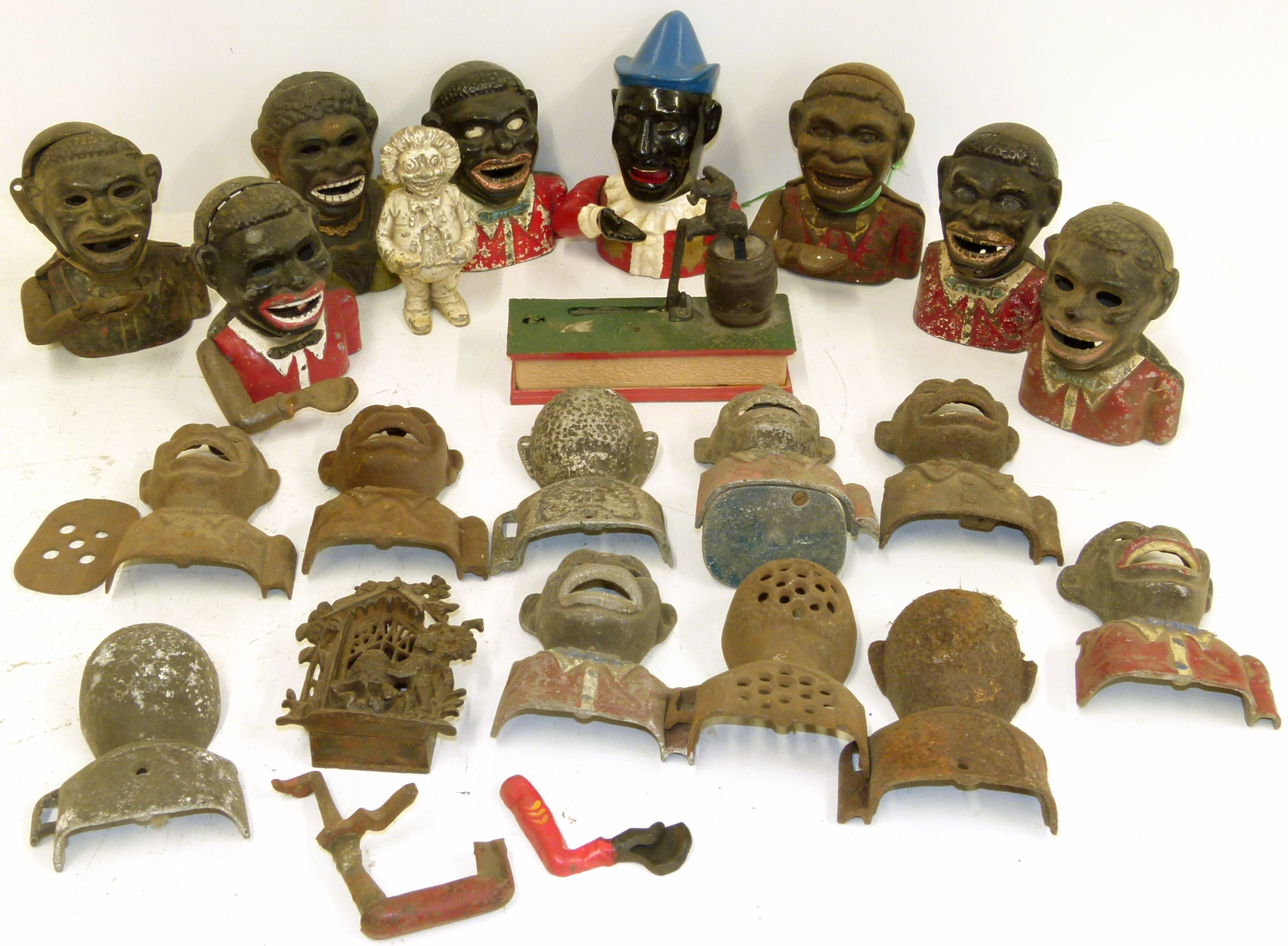 Lot 101 - Box of mechanical money boxes and spares We are unable to do condition reports on our Interiors
