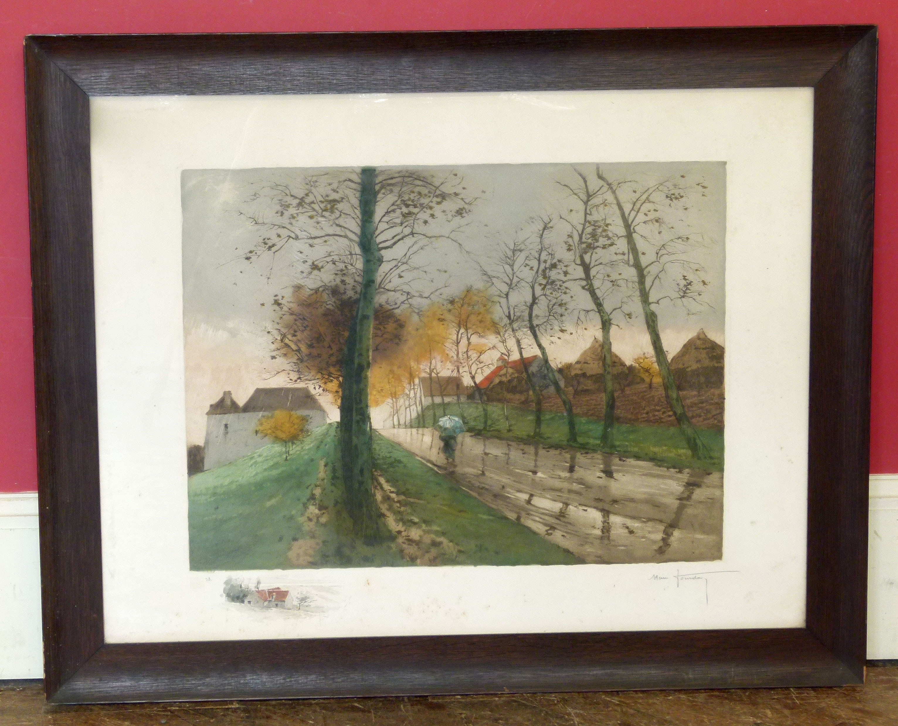 Lot 13 - Alan Foundary, Autumn lane signed etching We are unable to do condition reports on our Interiors