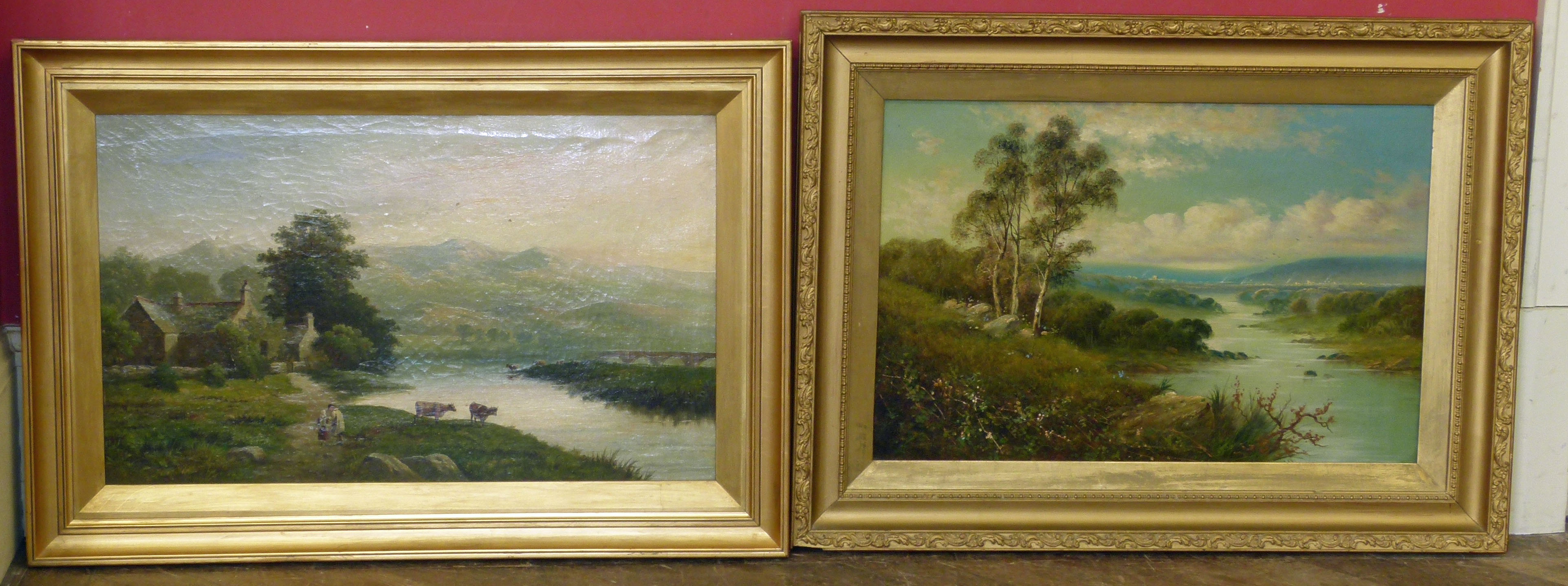 "Lot 7 - W.P. Cartiwright, ""Vale of Llannelltyd, near Dolgelly"" and another oil painting by Niemann, both"