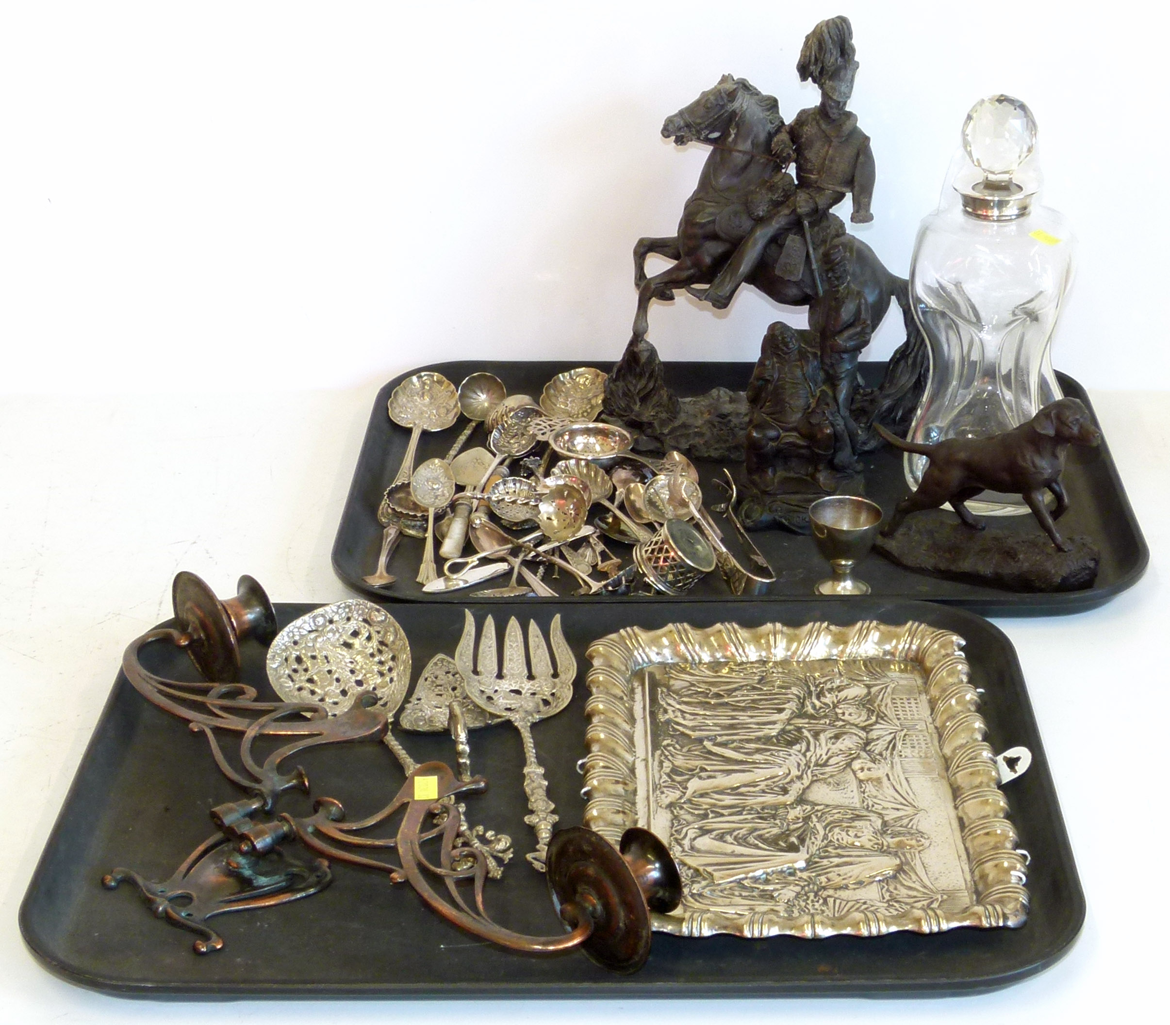 Lot 70 - A collection of metalware, silver plate, art nouveau lights silver topped decanter We are unable