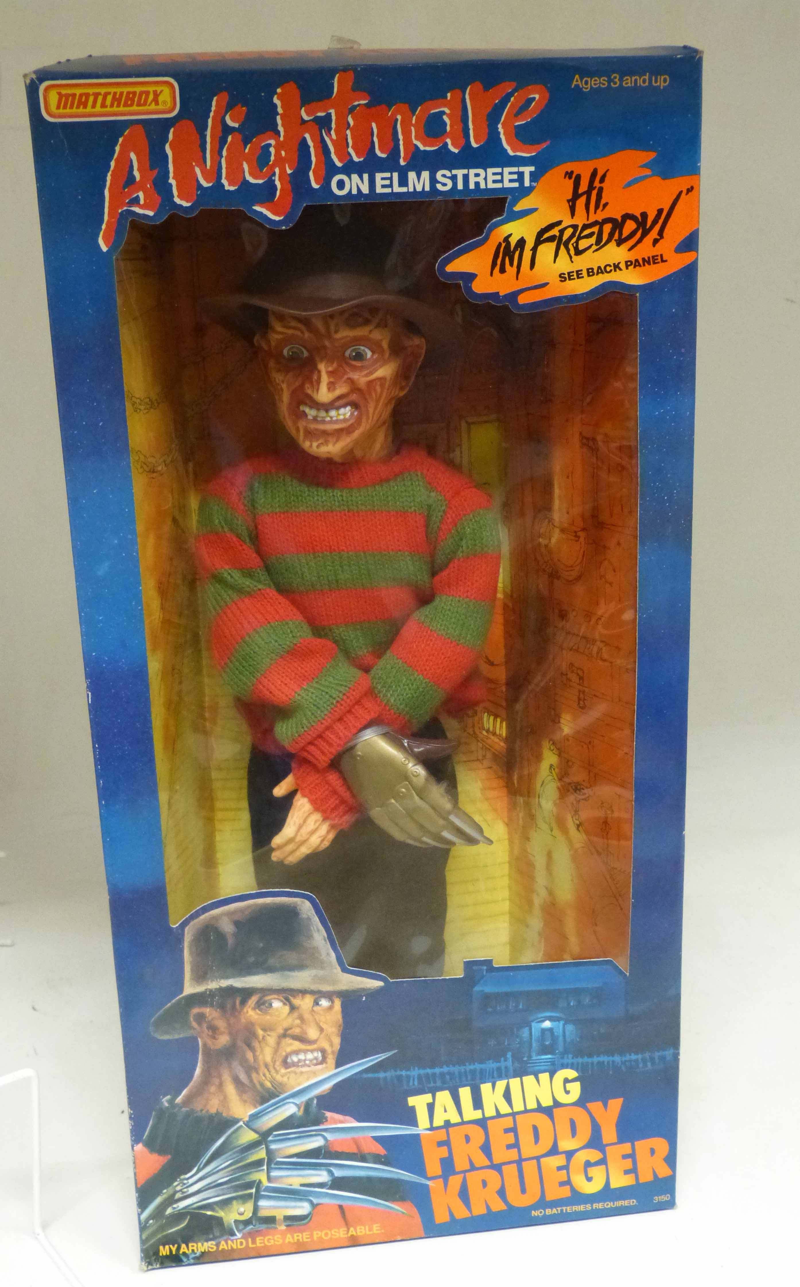 """Lot 84 - Boxed matchbox """"Talking Freddy Krueger"""" large size doll, in working order We are unable to do"""
