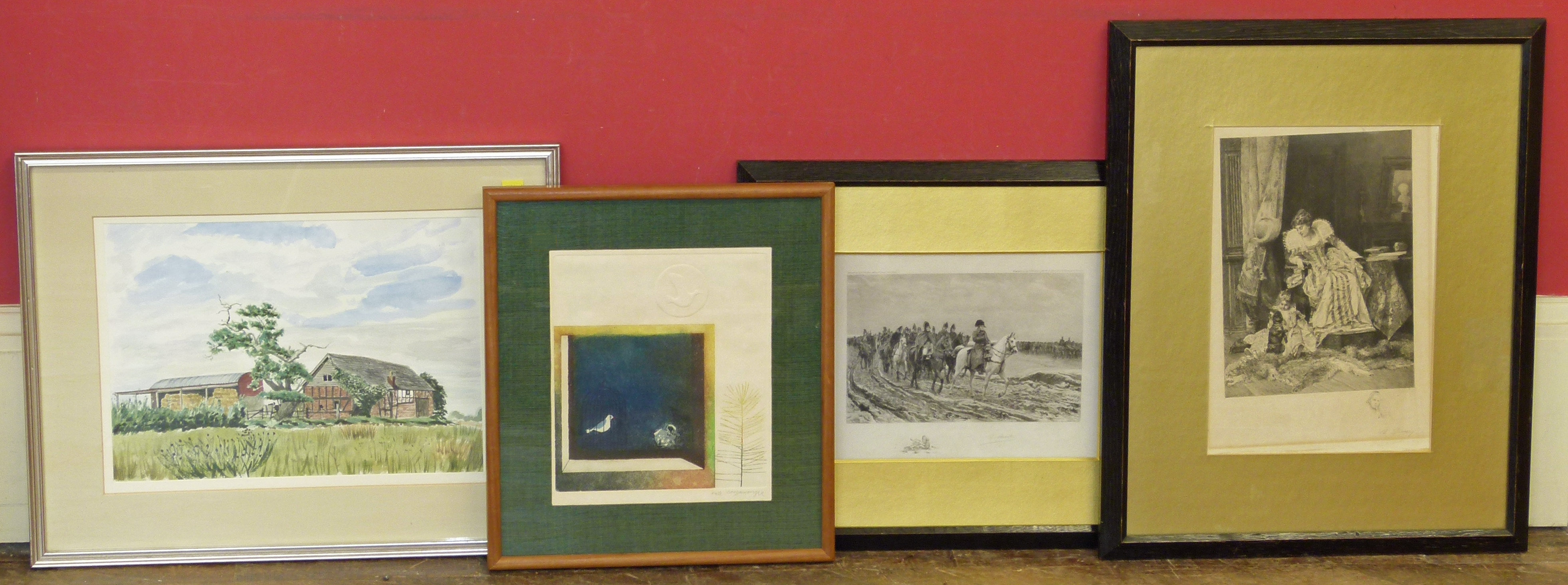 Lot 17 - Old barns Redbook, Whitchurch watercolour, two prints after Drury and one other limited edition